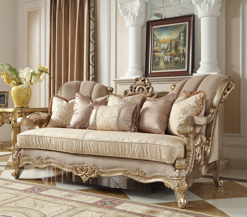Fabric Sofa in Champagne Metallic Gold & Silver Blend Finish S2663 European