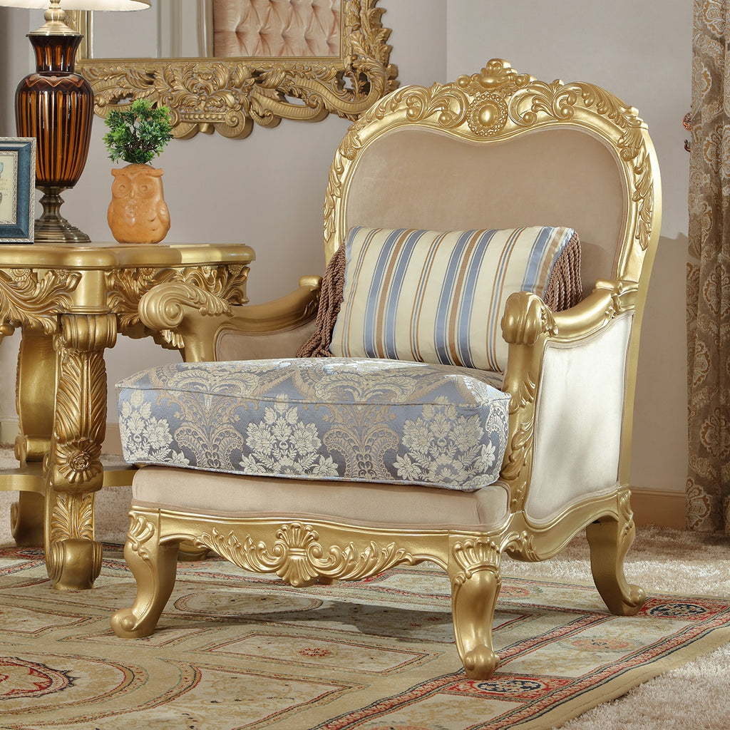 Fabric Chair in Metallic Bright Gold Finish C2666 European Traditional Victorian
