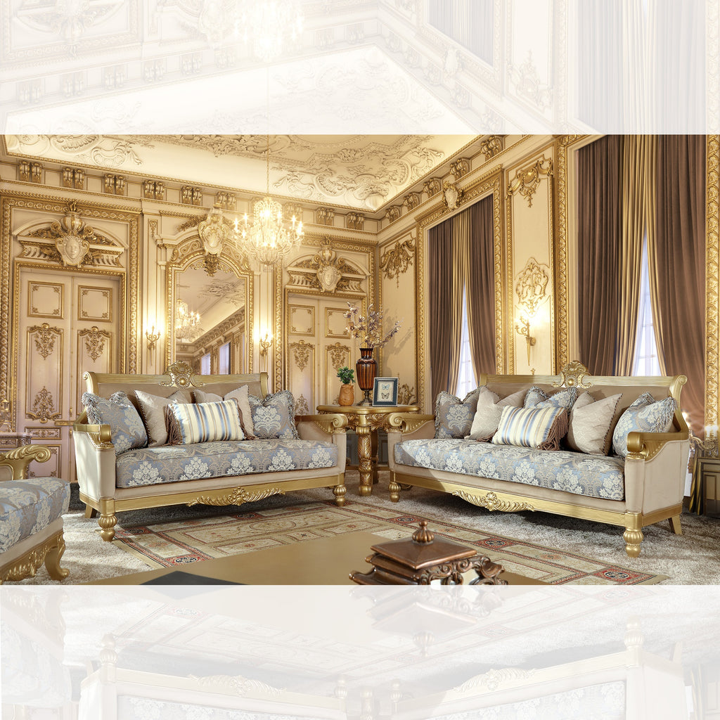 Fabric 3 PC Sofa Set in Metallic Bright Gold Finish 2666-SSET3 European Victorian