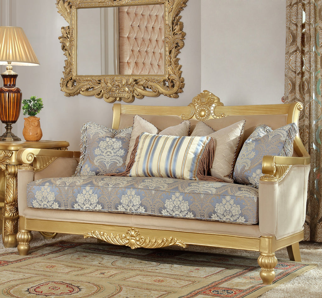 Fabric Loveseat in Metallic Bright Gold Finish L2666 European Traditional Victorian