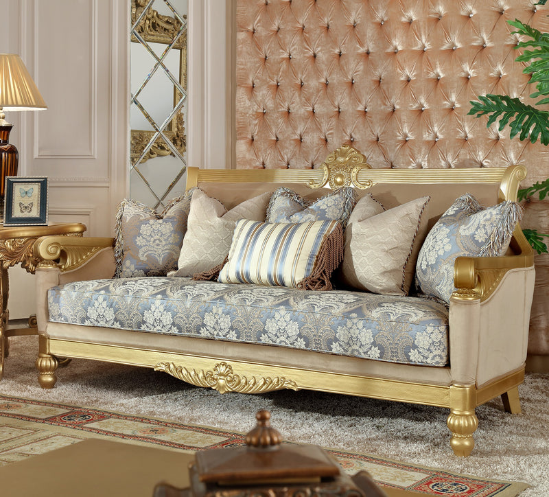 Fabric Sofa in Metallic Bright Gold Finish S2666 European Traditional Victorian