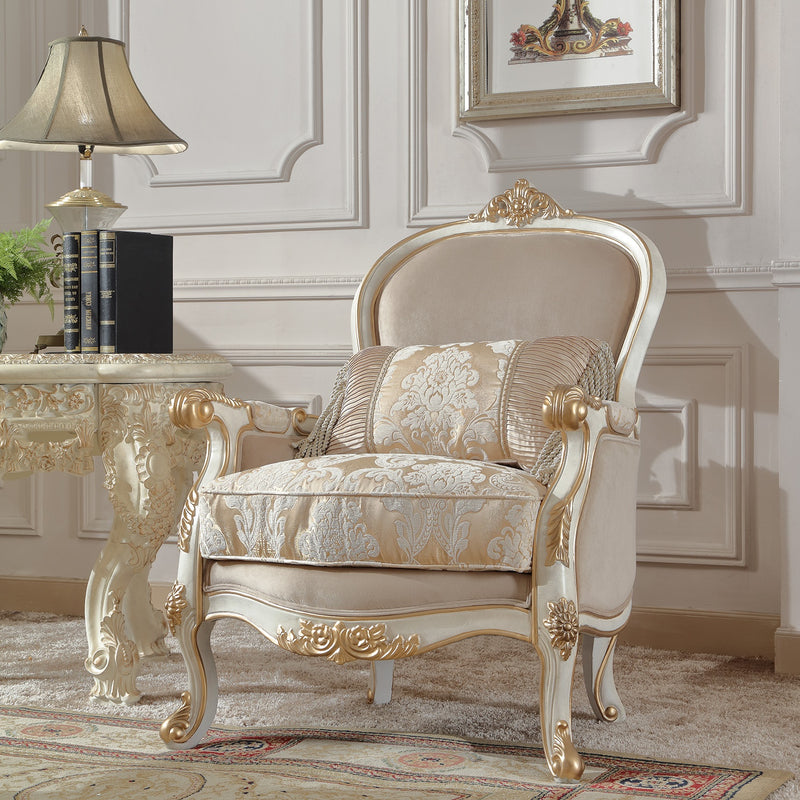 Fabric Accent Chair in Plantation Cove White Finish C2669 European Victorian