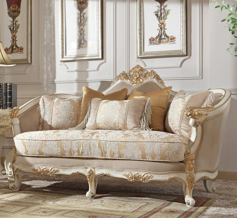 Fabric Loveseat in Plantation Cove White Finish L2669 European Traditional Victorian