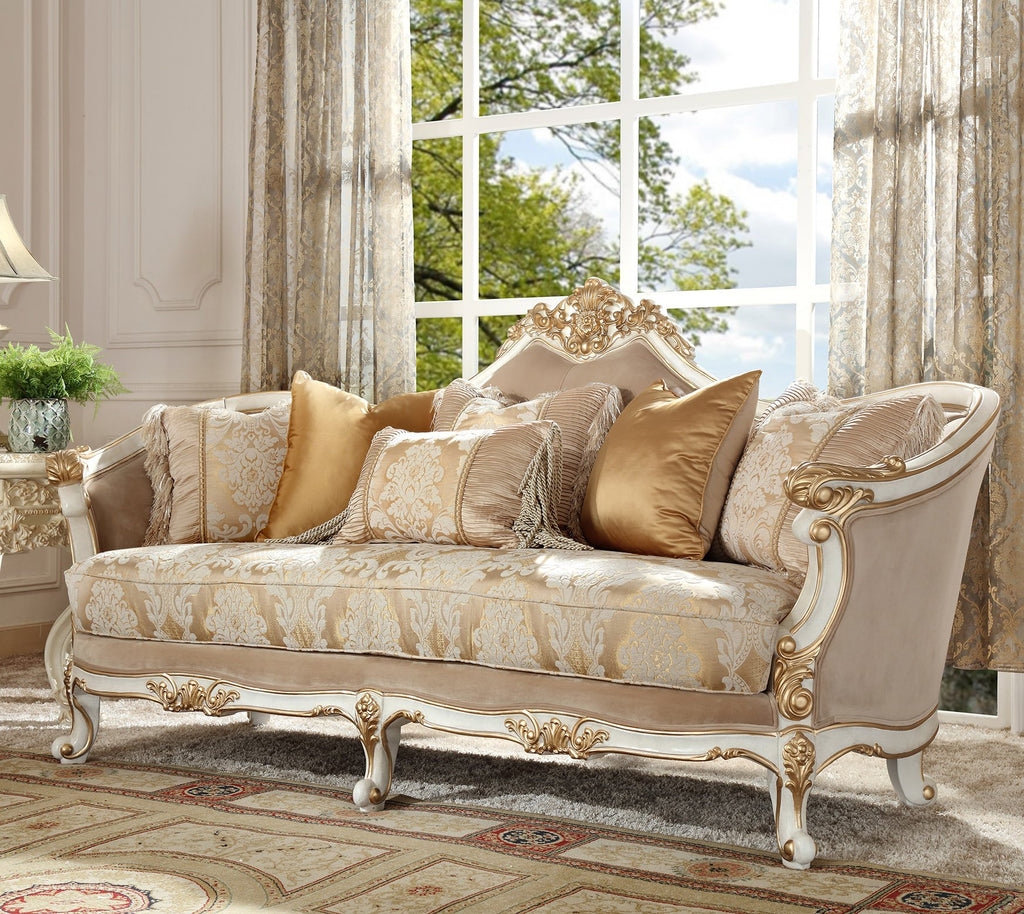 Fabric Sofa in Plantation Cove White Finish S2669 European Traditional Victorian