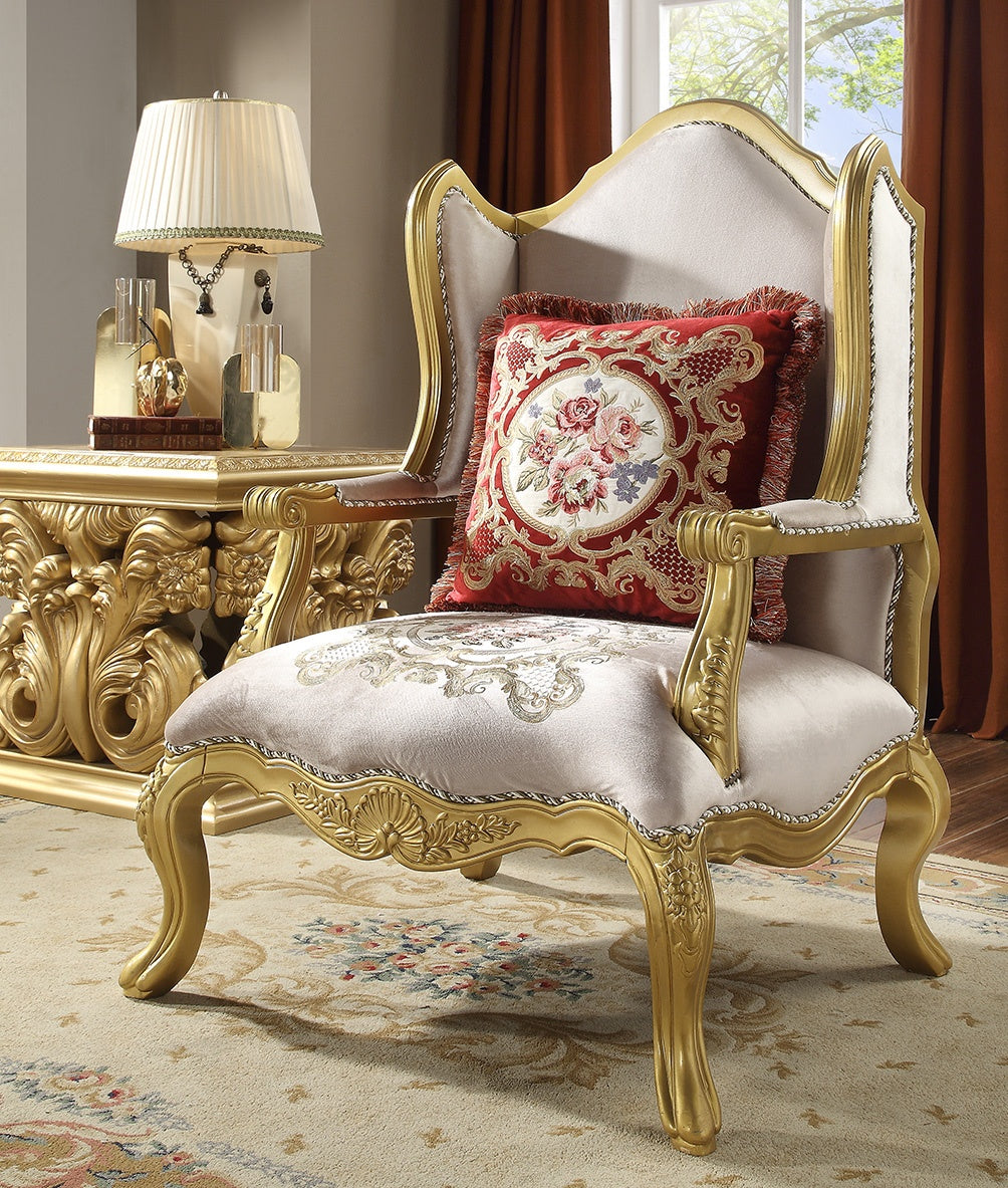 Fabric Chair in Metallic Bright Gold Finish C31 European Traditional Victorian