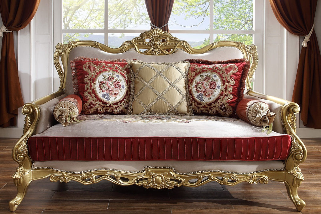 Fabric Loveseat in Metallic Bright Gold Finish L31 European Traditional Victorian