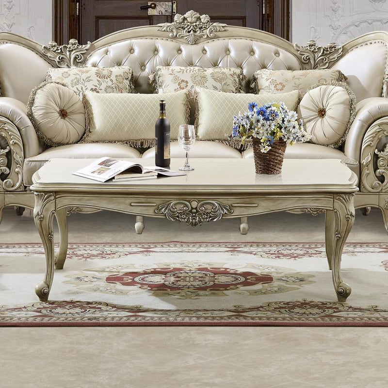 Coffee Table Set in Plantation Cove White Finish 32-CT European Victorian