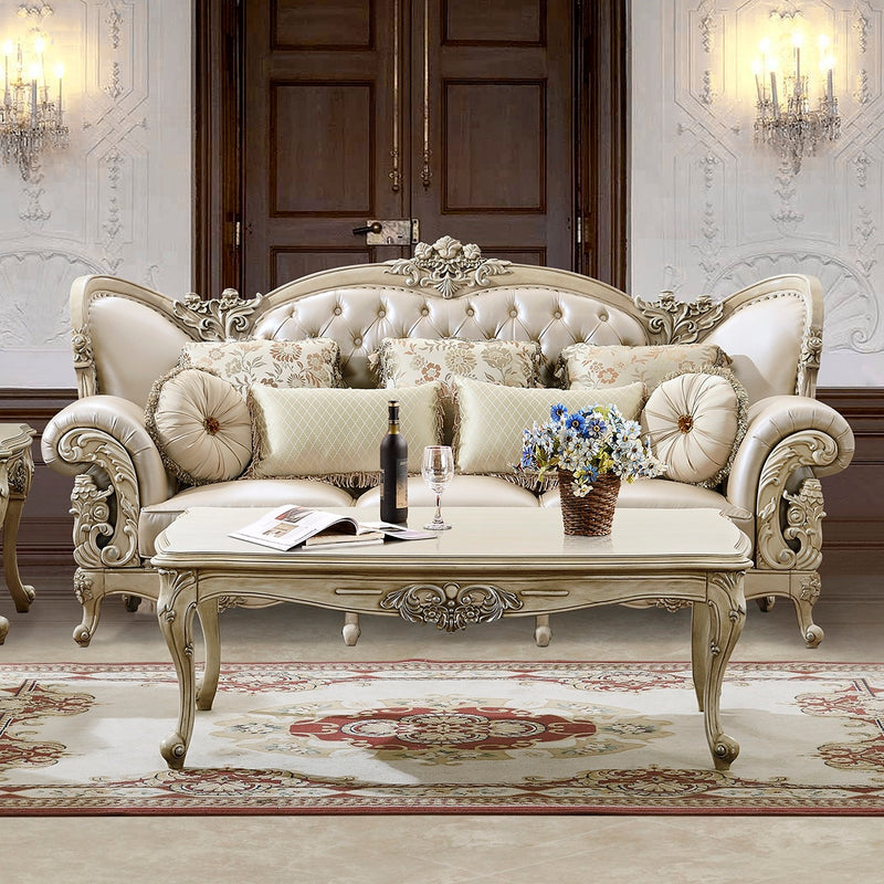 Leather Sofa in Plantation Cove White Finish S32N European Traditional Victorian