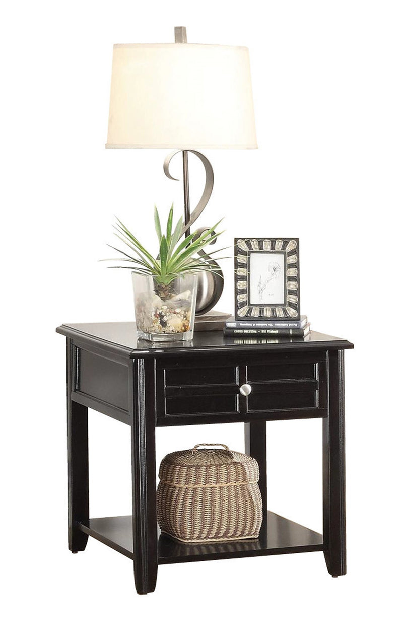 Homelegance Carrier End Table with Functional Drawer in Dark Espresso