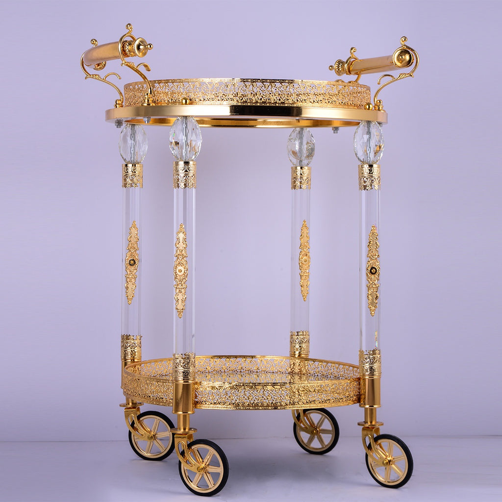 Bar Cart in Golden Brass Finish AC352 European Traditional Victorian