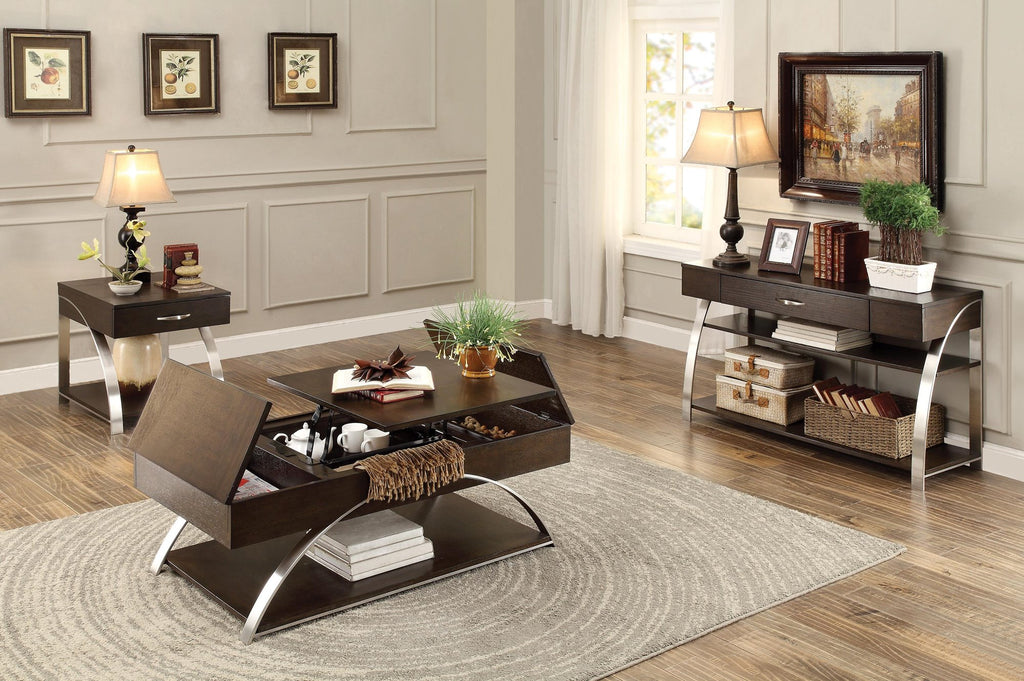 Homelegance Tioga End Table with Functional Drawer in Espresso