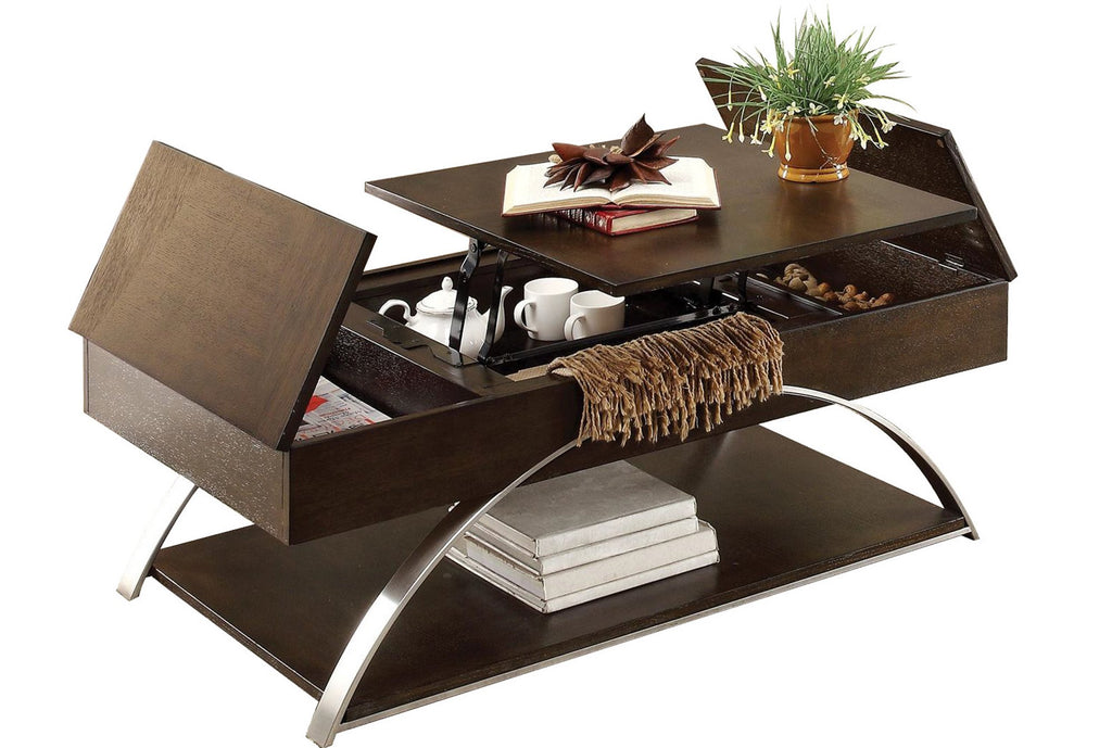 Homelegance Tioga Cocktail Table with Lift Top and Storage in Espresso