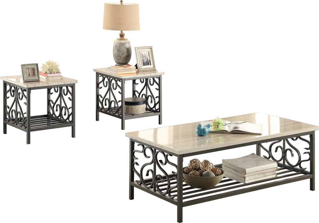 Homelegance Fairhope 3PC Occasional Tables with Faux Marble Top Cocktail Table, 2 End Table