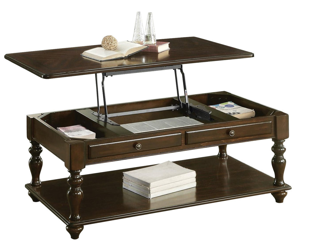 Homelegance Lovington Cocktail Table with Lift Top on Casters in Espresso