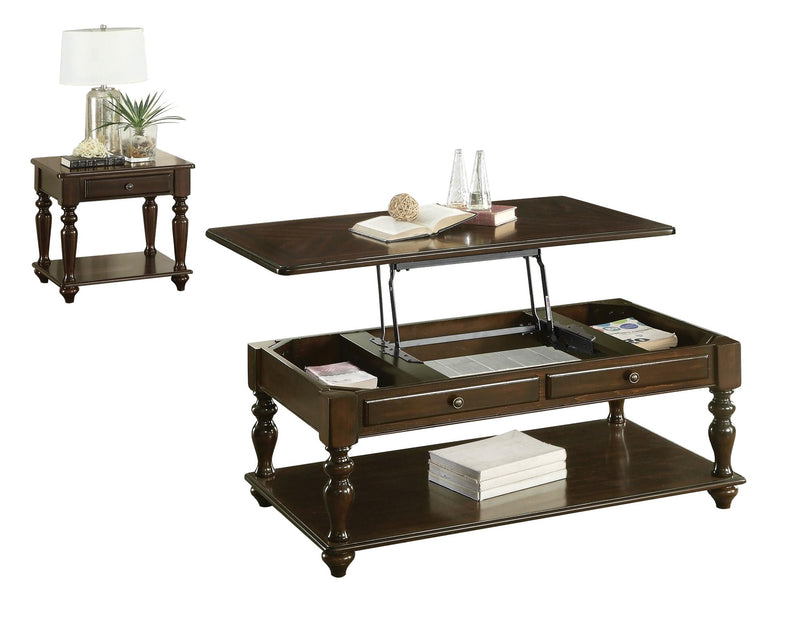 Homelegance Lovington 2PC Occasional Set Lift Top Cocktail Table on Casters, 1 End Table in Espresso