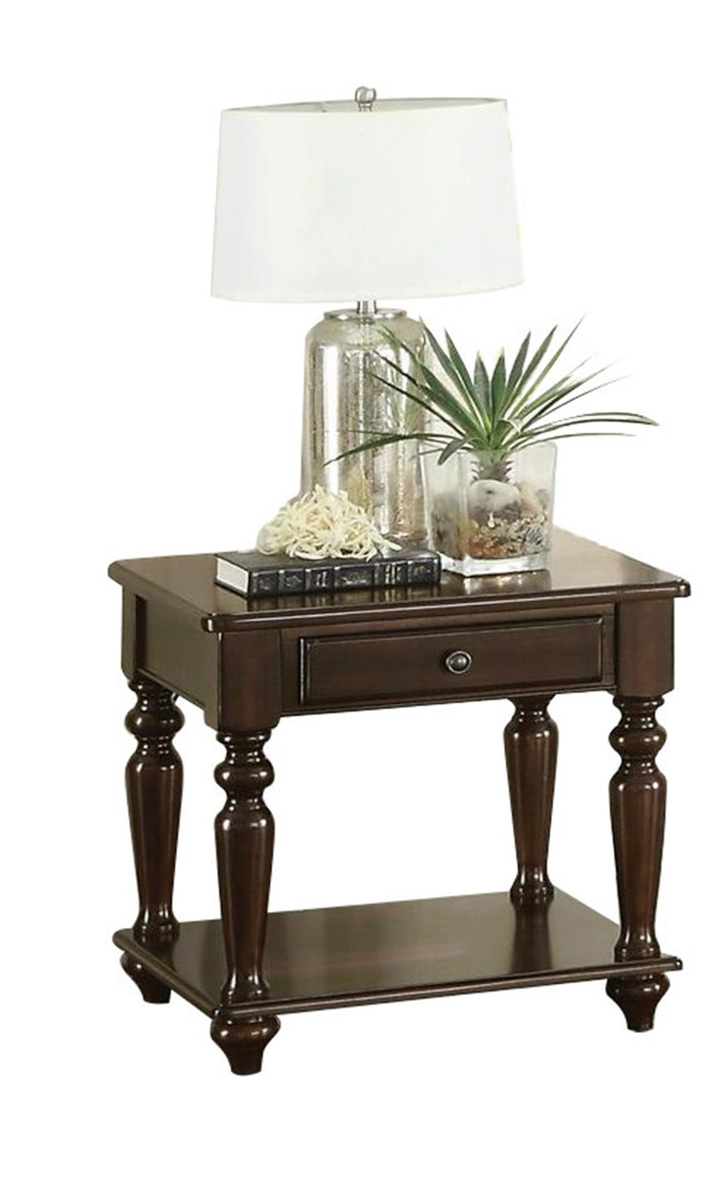 Homelegance Lovington End Table with Functional Drawer in Espresso