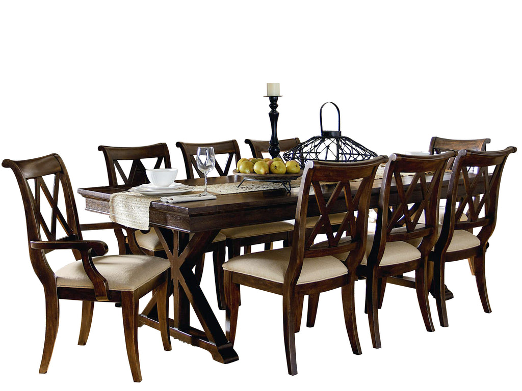 Legacy Classic Thatcher 9PC Dining Set Trestle Table Six Side Chair Two Arm Chair in Amber