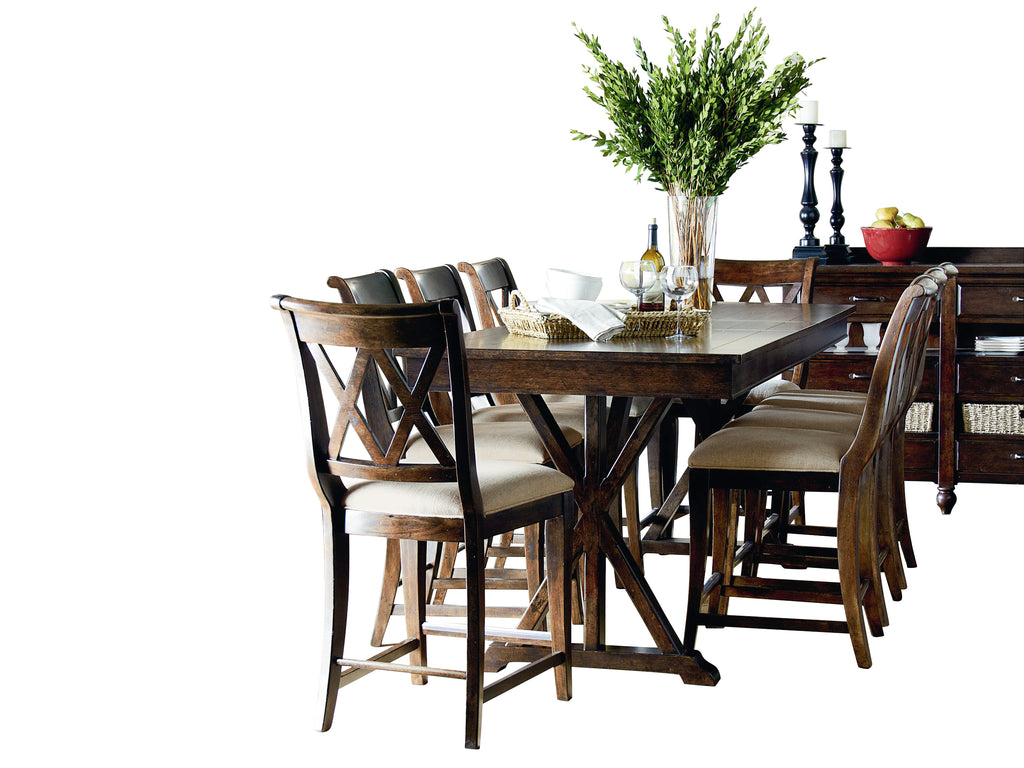 Legacy Classic Thatcher 10PC Dining Set Dining Table Eight Side Chair Server in Amber