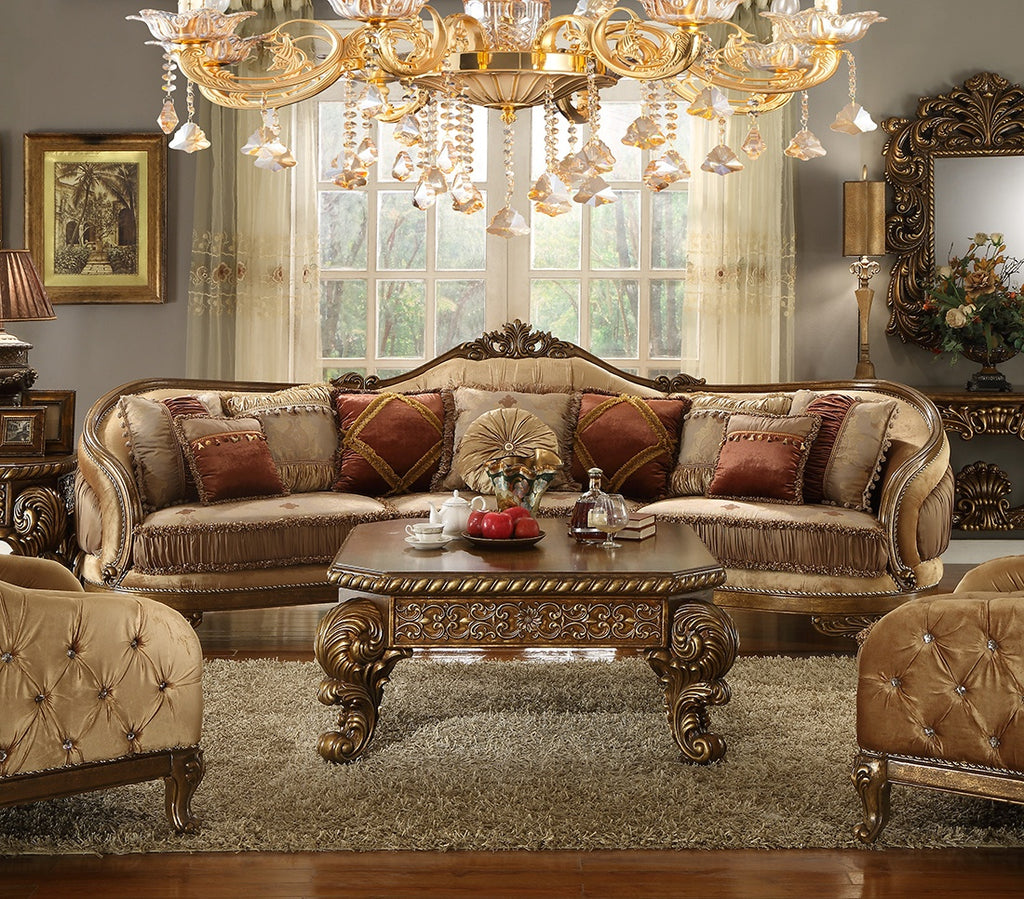 Fabric Sectional Sofa in Van Dyke Brown Finish 458SECTIONAL European Victorian