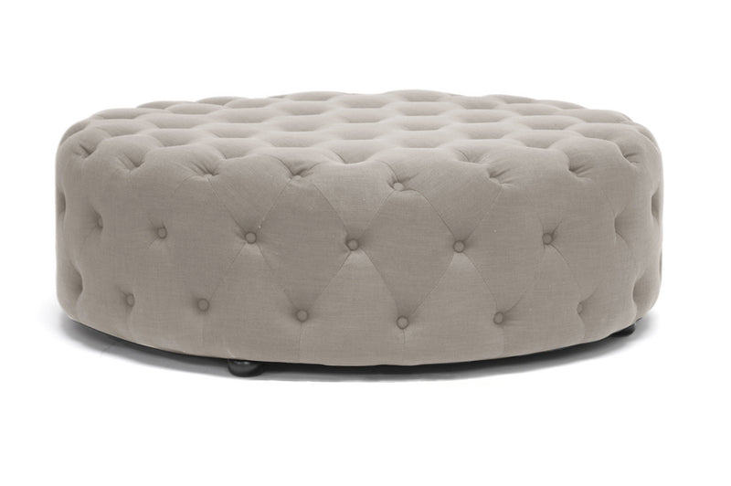 Traditional Tufted Ottoman in Beige Linen Fabric