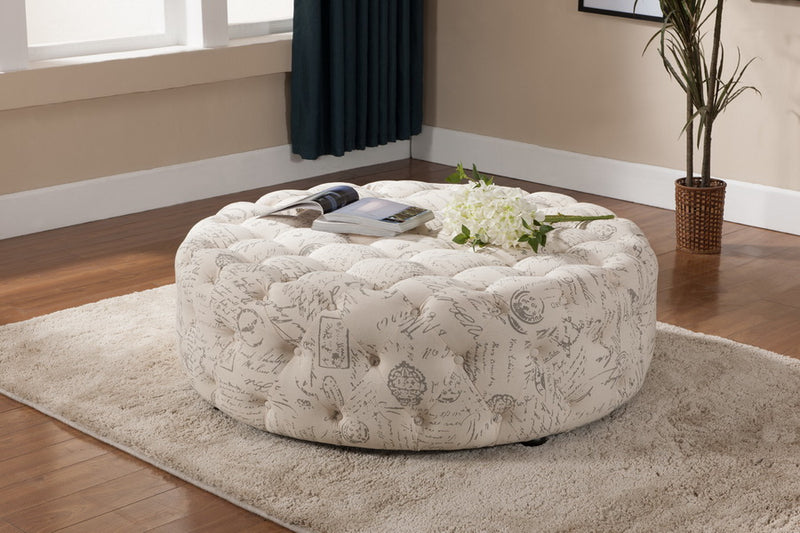 Traditional Tufted Cocktail Ottoman in Beige Linen Fabric