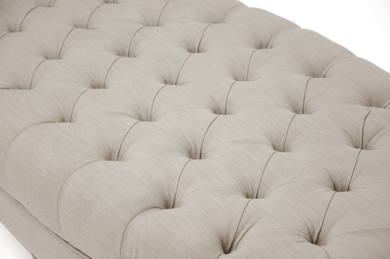 Traditional Round Tufted Ottoman in Beige Linen Fabric