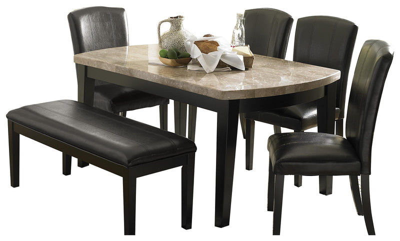 Homelegance Cristo 6PC Dining Set Dining Table Four Side Chair Bench in Dark Brown