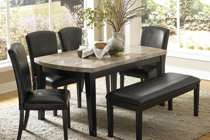 Homelegance Cristo Dining Bench in Black Leatherette