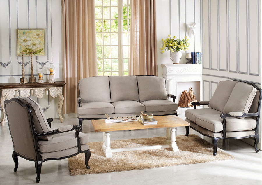 Antiqued French Sofa & Loveseat & Accent Chair in Beige Fabric - The Furniture Space.