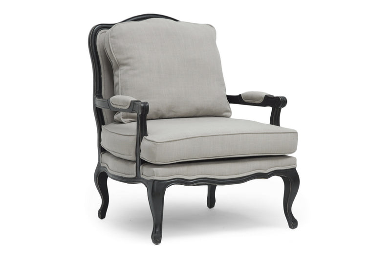 Antiqued Accent Chair in Beige Fabric - The Furniture Space.