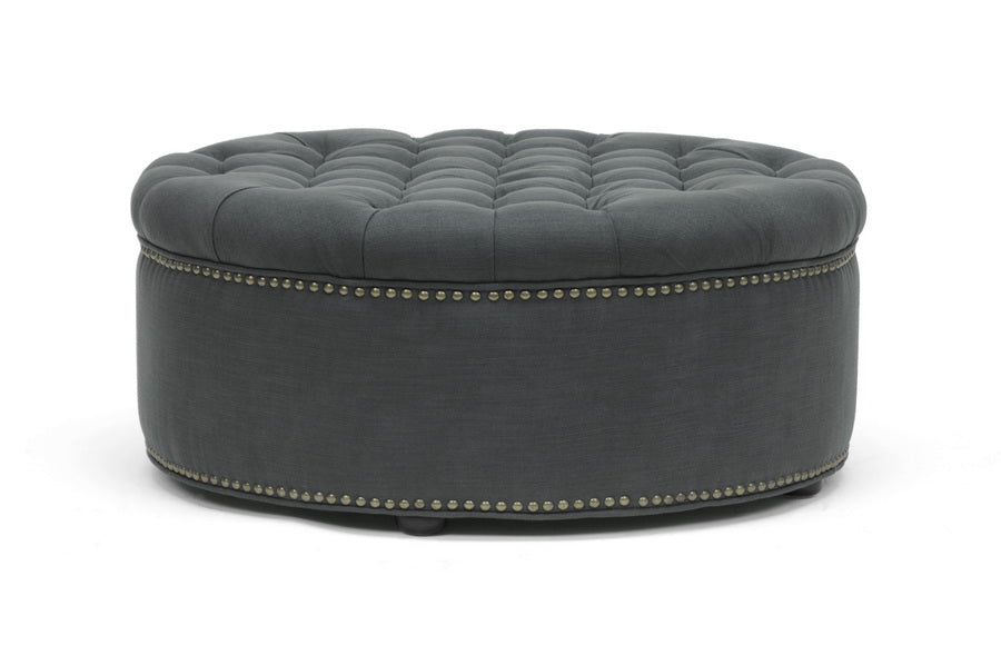 Modern Round Tufted Ottoman in Grey Linen Fabric