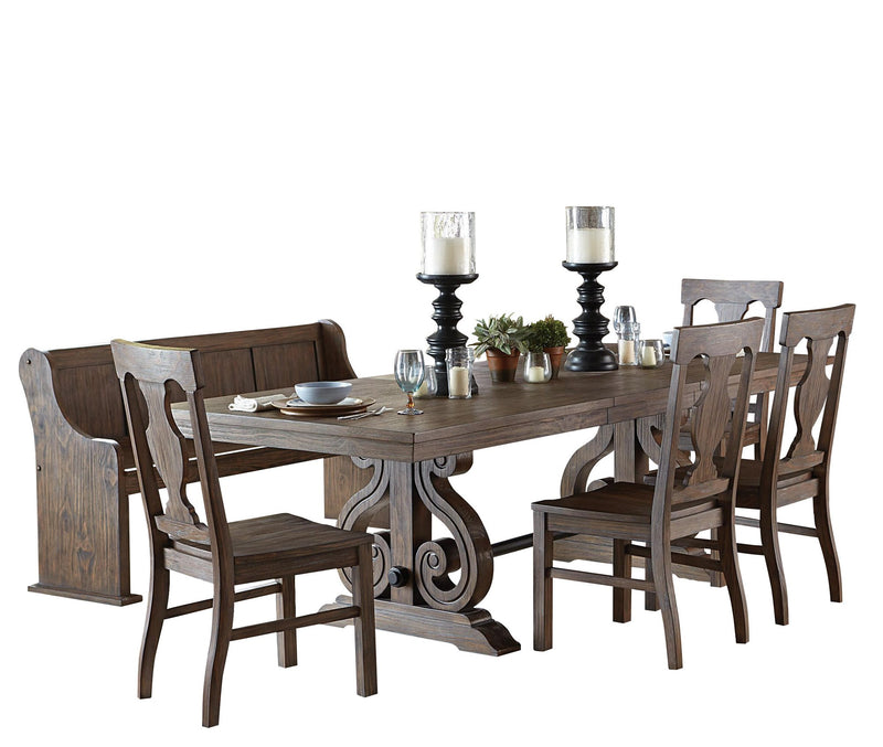 Homelegance Toulon 6PC Dining Set Trestle Dining Table Four Side Chair Bench in Distressed Oak