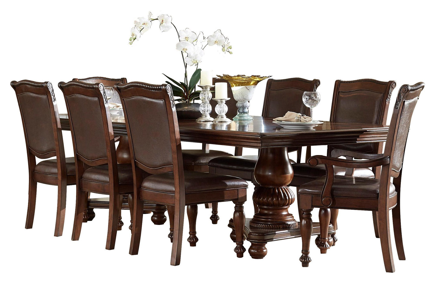 Homelegance Lordsburg 9PC Dining Set Double Pedestal Table, 2 Arm Chair, 6  Side Chair In Brown Cherry