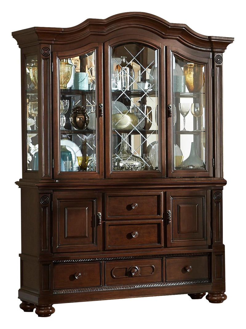 Homelegance Lordsburg Buffet & Hutch in Brown Cherry