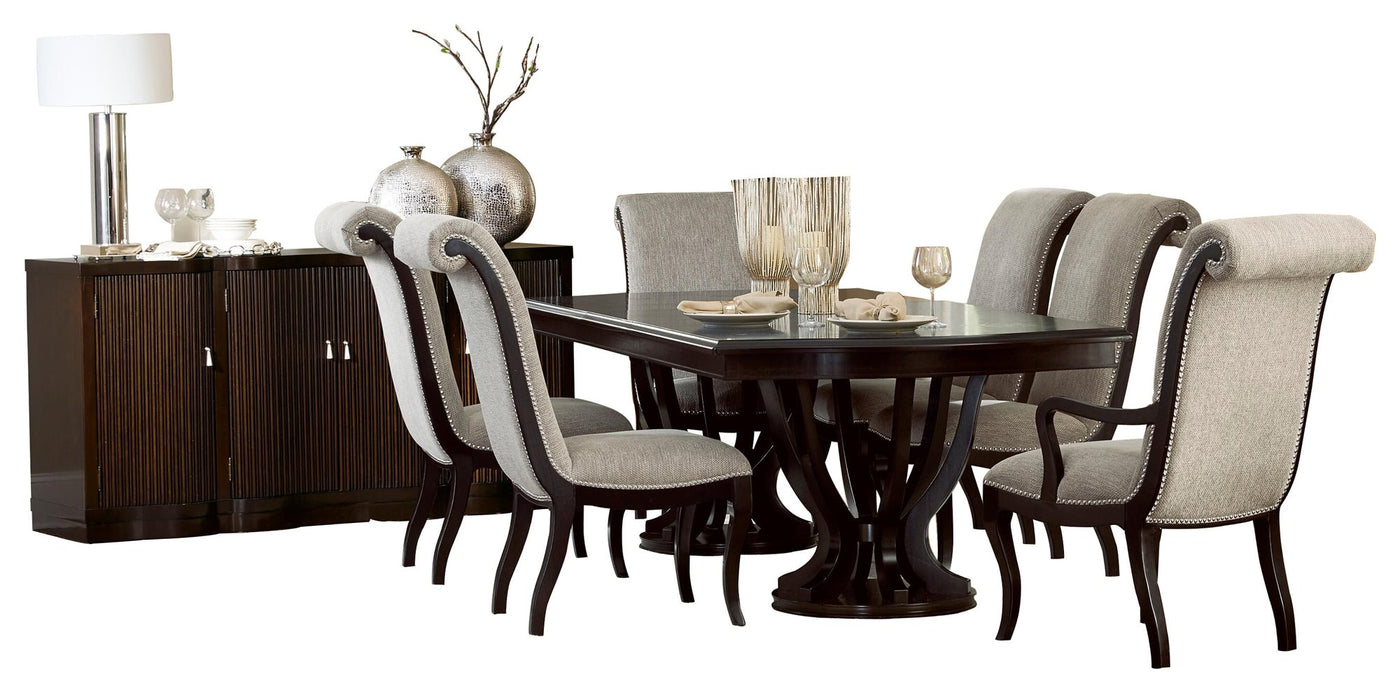 Homelegance Savion 8PC Dining Set Double Pedestal Table, 4 Side Chair, 2  Arm Chair, Server in Espresso