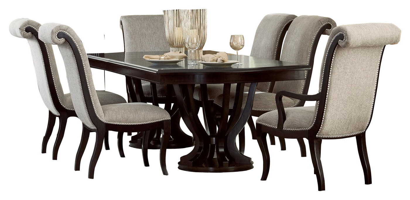 Homelegance Savion 7PC Dining Set Double Pedestal Table 4 Side Chair 2 Arm In Espresso