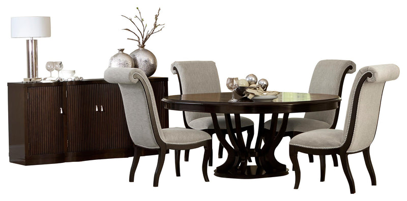 Homelegance Savion 6PC Dining Set Round / Oval Pedestal Dining Table Four Side Chair Server in natural tone