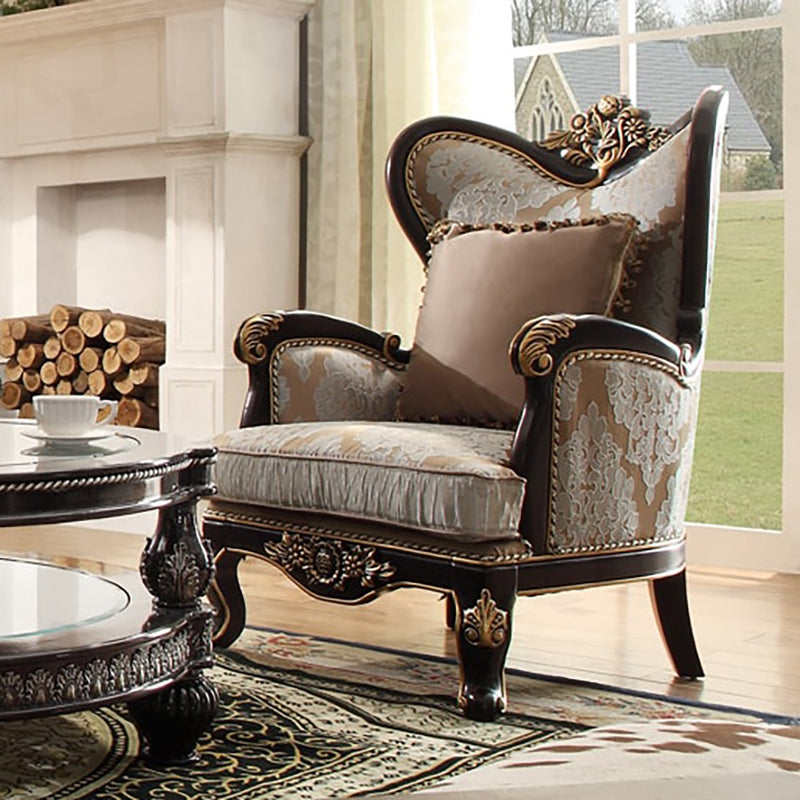 Fabric Accent Chair in Smoke Black & Antique Gold & Silver Finish C551 European
