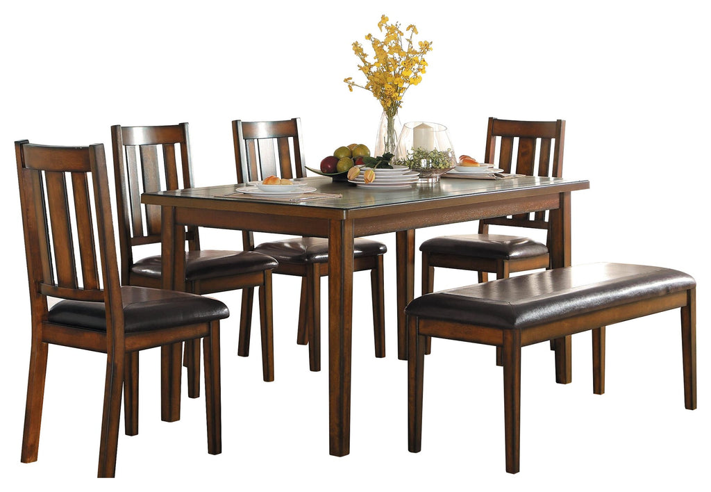 Homelegance Delmar 6PC Dining Set Dining Table Four Side Chair Bench in Brown