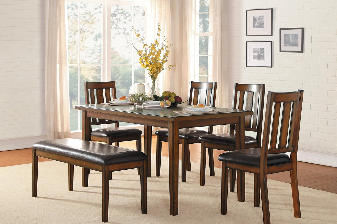 Homelegance Delmar 6PC Dining Set Table, 4 Chair, Bench In Brown