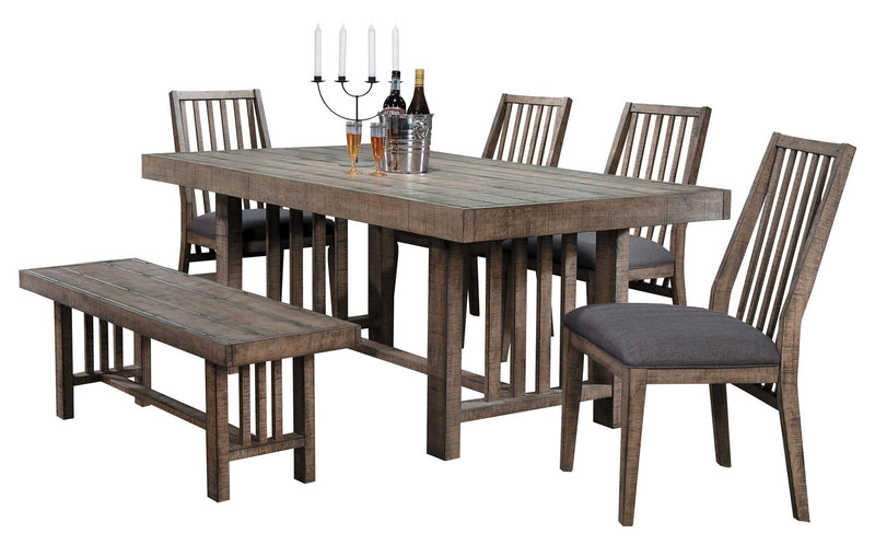 Homelegance Codie 6PC Dining Set Dining Table Four Side Chair Bench in Natural Tone