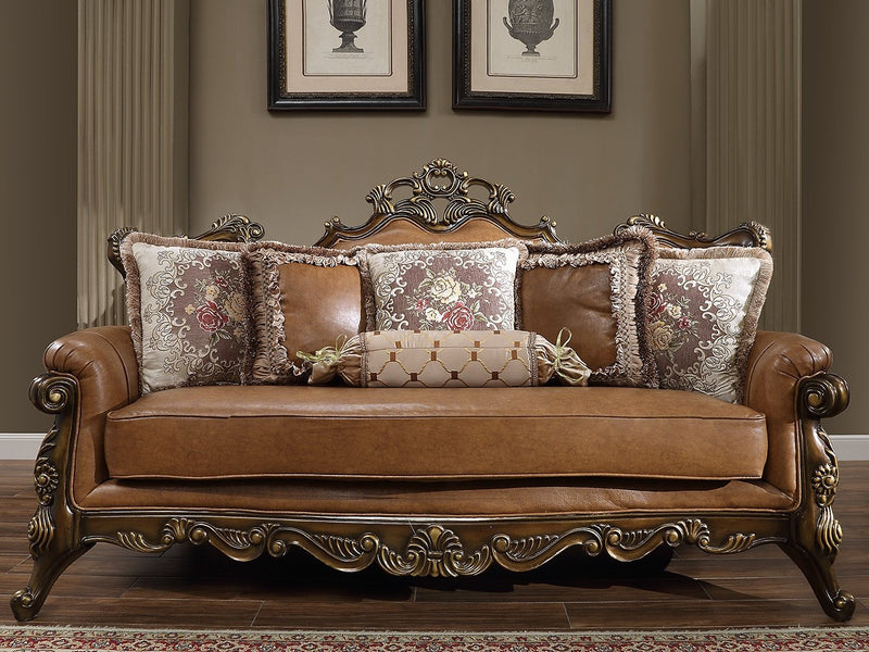 Leather Sofa in Custom Mohawk Finish S555 European Traditional Victorian