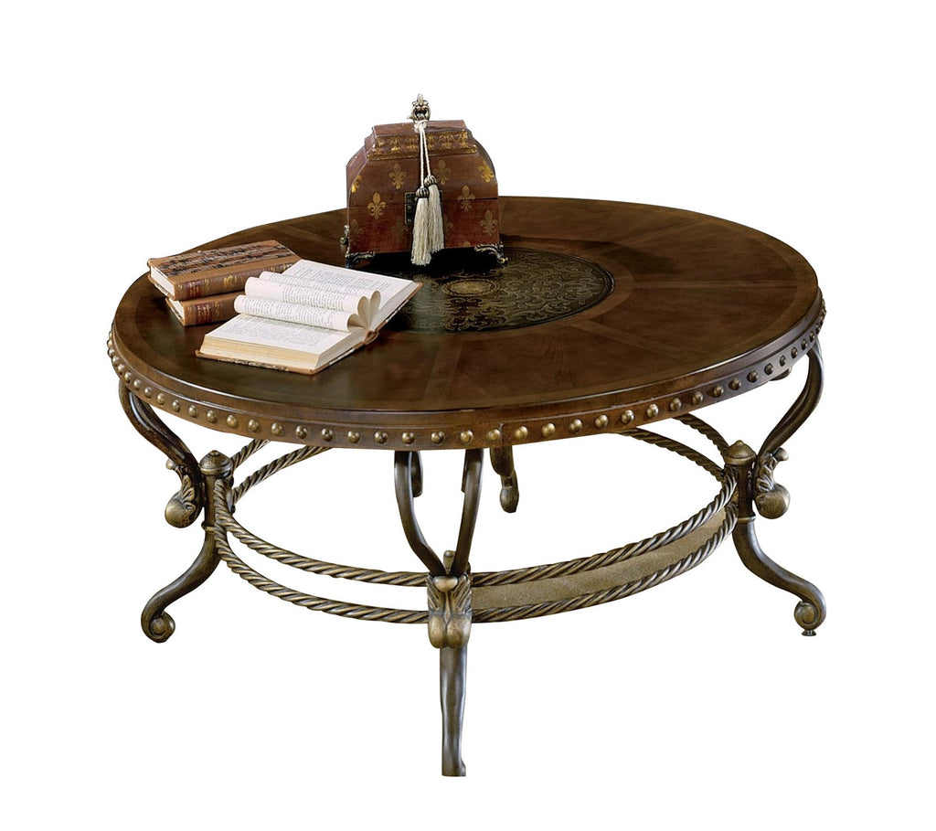 Homelegance Jenkins Round Cocktail Table in Warm Brown