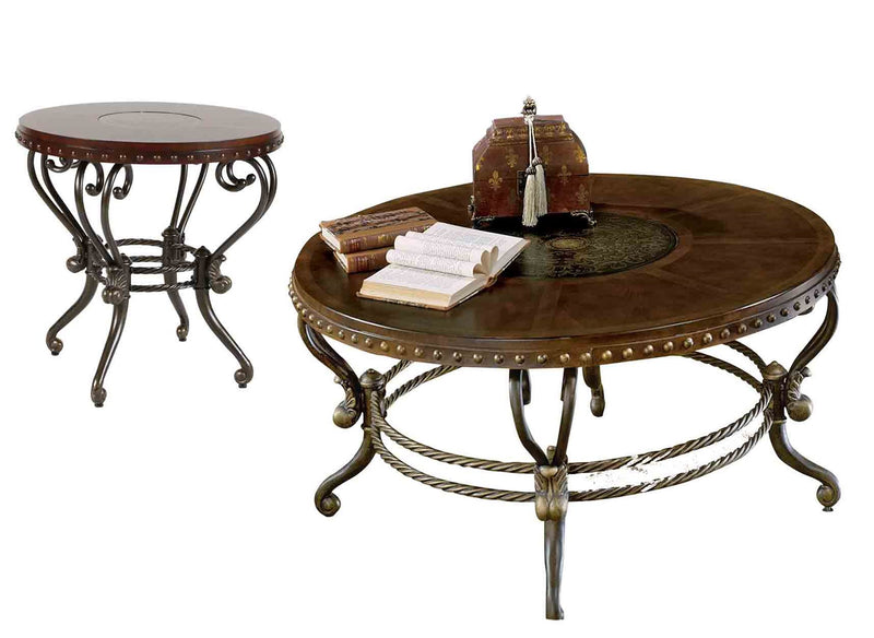Homelegance Jenkins 2PC Occasional Set Round Cocktail, 1 Round End Table in Warm Brown