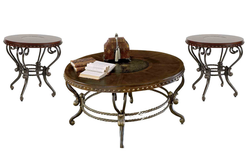 Homelegance Jenkins 3PC Occasional Set Round Cocktail, 2 End Table in Warm Brown