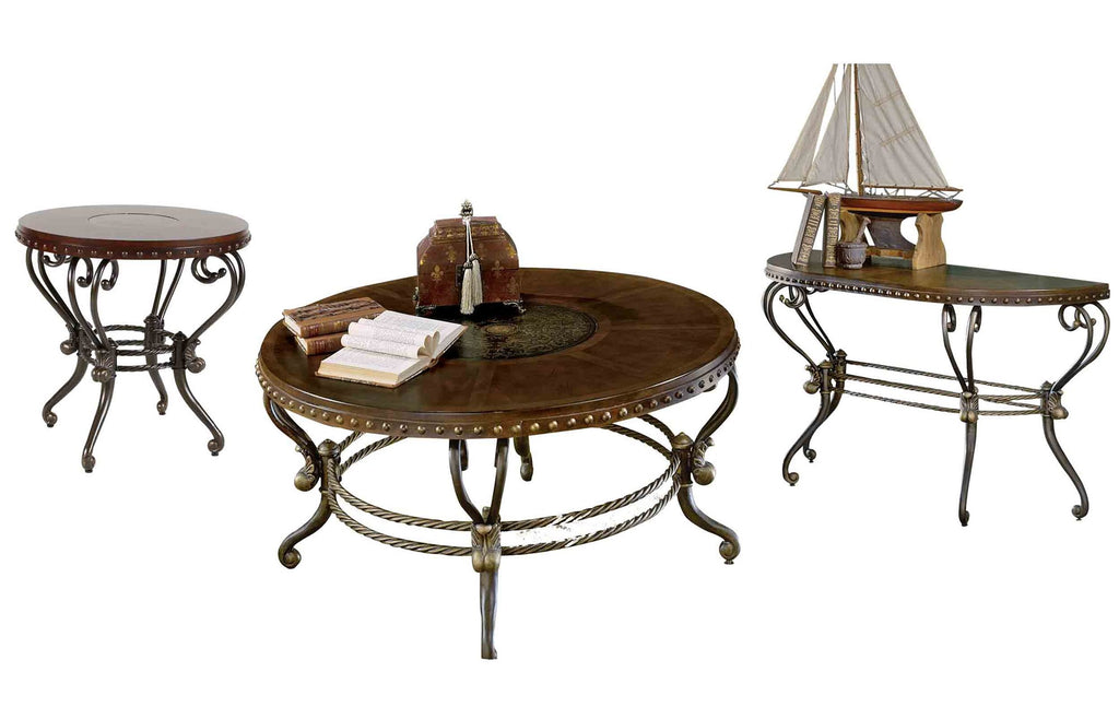 Homelegance Jenkins 3PC Occasional Set Round Cocktail, 1 Round End, Sofa Table in Warm Brown