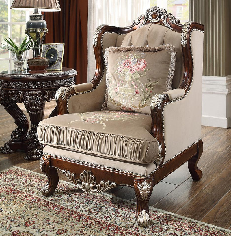 Fabric Chair in Custom Burl & Antique Silver Finish C562 European Victorian