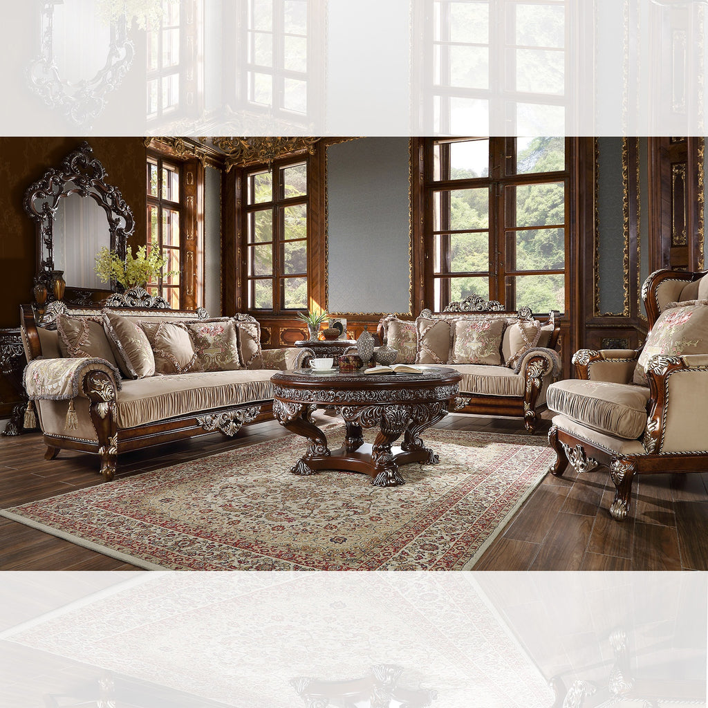 Fabric 3 PC Sofa Set in Custom Burl & Antique Silver Finish 562-SSET3 European