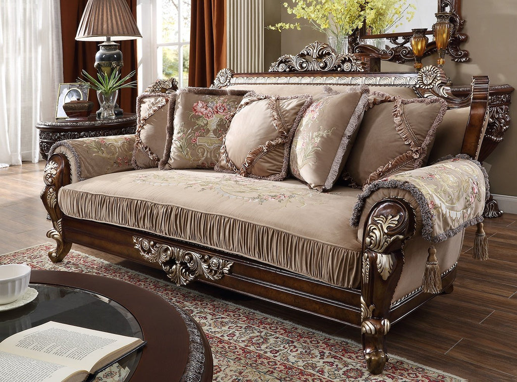 Fabric Sofa in Custom Burl & Antique Silver Finish S562 European Victorian