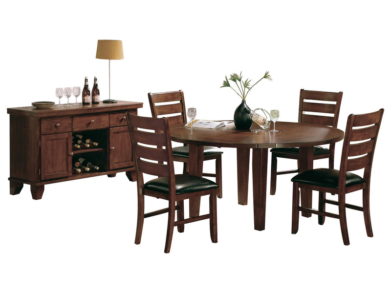 Homelegance Ameillia 6PC Dining Set Round Dining Table Four Side Chair Server in Dark Oak